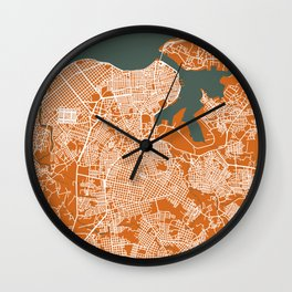 LA HABANA Map Cuba | Orange | More Colors, Review My Collections Wall Clock