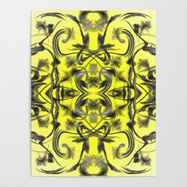 silver in yellow Digital pattern with circles and fractals artfully colored design for house Poster