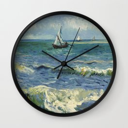 Seascape near Les Saintes-Maries-de-la-Mer by Vincent van Gogh Wall Clock