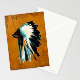 Native Headdress Orange Edit Stationery Cards