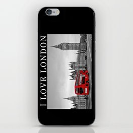 Black and White London with Red Bus iPhone Skin