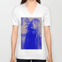 kate moss V-neck T-shirts featuring double Kate blues (kate moss) by Kiki collagist