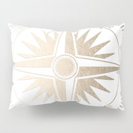 Gold on White Compass Pillow Sham