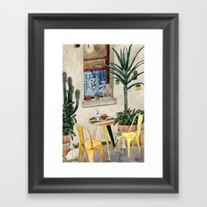 Cats Cacti and a Dog Framed Art Print