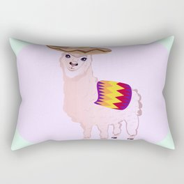 Cartoon Alpaca in Sombrero Rectangular Pillow