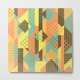 Squares Grids Stripes I (Modern Retro Color Palette) Metal Print