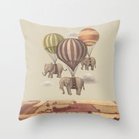 blue Throw Pillows featuring Flight of the Elephants  by Terry Fan