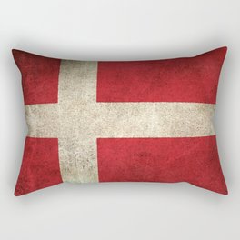 Old and Worn Distressed Vintage Flag of Denmark Rectangular Pillow