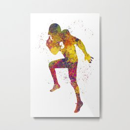 American Football player 12 in watercolor Metal Print