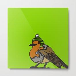 Robin in a hat Metal Print