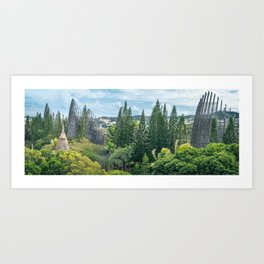 Tjibaou Cultural Centre immersed in tropical vegetation Art Print
