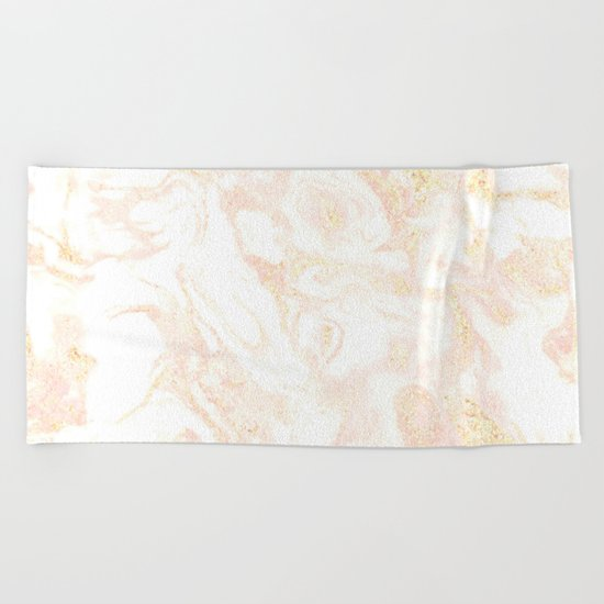 White Marble Pastel Pink and Gold by Nature Magick Beach Towel