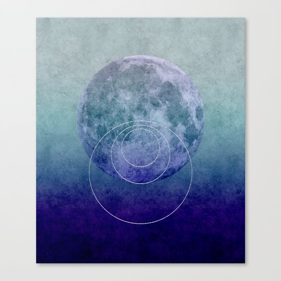 Blue Moon geometric circle mixed media Canvas Print