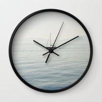 sailboat Wall Clocks featuring Sailboat by Jakub Majewski