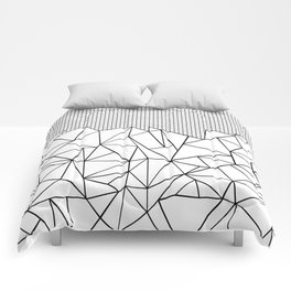 Abstract Outline Grid Black on White Comforters