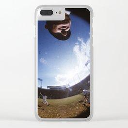 Fisheye Lens : Baseball Umpire / Player Sliding Into 2nd Base : Vintage MLB Photograph Clear iPhone Case