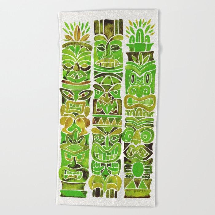 Tiki Totems – Green Beach Towel