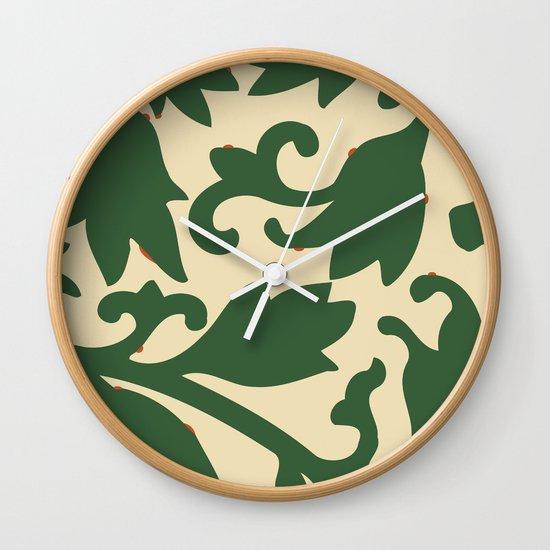 Wall Clock Floral Design : Green floral vintage pattern design wall clock by emmanuel