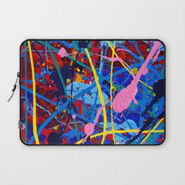 Pretty, minimal, acrylic piece in blue, red, pink, and yellow Laptop Sleeve