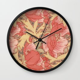 William Morris Poppies Floral Art Nouveau Pattern Wall Clock