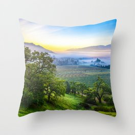 First Light Over Misty Napa Valley Throw Pillow