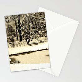 Winter scenery in a park Stationery Cards