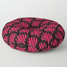 Beautiful Pink Black Scalloped Pattern Floor Pillow