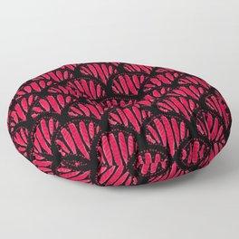 Beautiful Pink Black Scalloped Pattern Floor Pillow