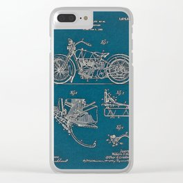 1902 Motorcycle Blueprint Patent in blue Clear iPhone Case