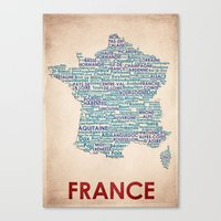 france Canvas Prints featuring France by Wordmaps