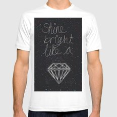 SHINE BRIGHT LIKE A DIAMOND  MEDIUM Mens Fitted Tee White