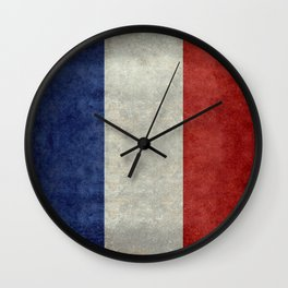 French Flag with vintage textures Wall Clock