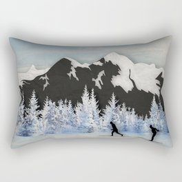 Cross Country Skiing Rectangular Pillow