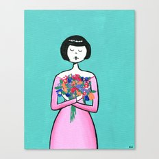 Ramona holds a bouquet of flowers Canvas Print