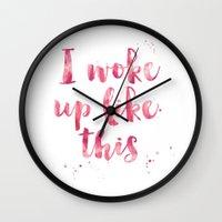 i woke up like this Wall Clocks featuring i woke up like this by Huntleigh