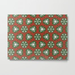 Snowflakes and red lace Metal Print