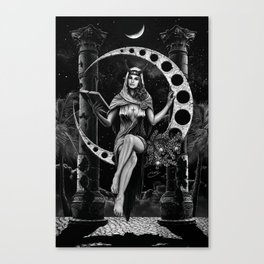 II. The High Priestess Tarot Card Illustration Canvas Print