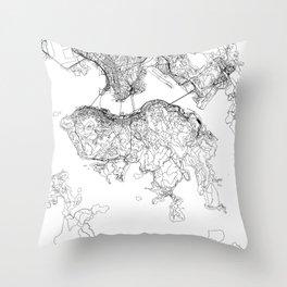 Hong Kong White Map Throw Pillow