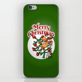 Reindeer in a Christmas tree iPhone Skin