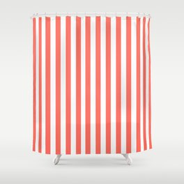 LIVING CORAL STRIPES PANTONE COLOR OF THE YEAR 2019 Shower Curtain