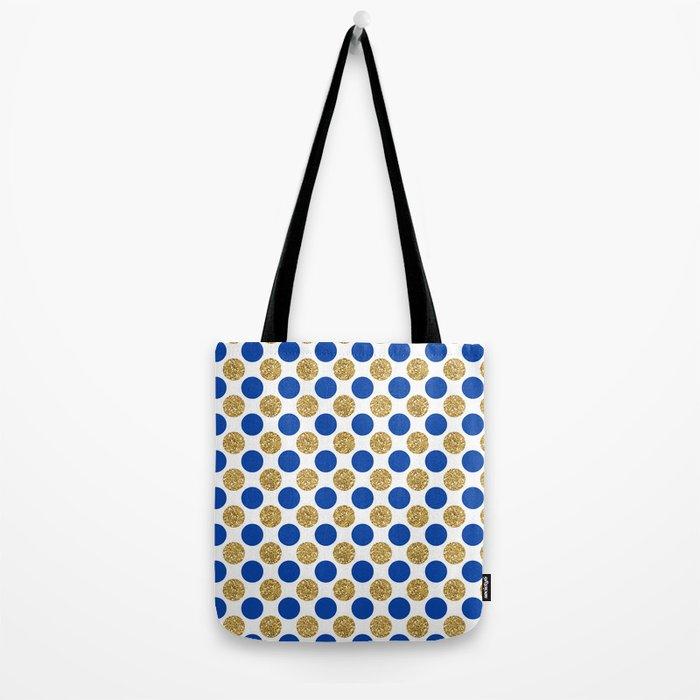 Pastel pink navy blue faux gold glitter polka dots Tote Bag