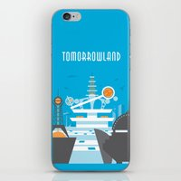 travel poster iPhone & iPod Skins featuring Tomorrowland Travel Poster by Rob Yeo Design