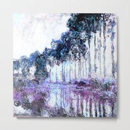 Monet : Poplars Lavender Periwinkle Deep Blue Metal Print