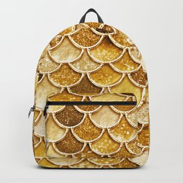 Gold Trendy Glitter Mermaid Scales Backpack