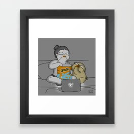 Mochi the pug Cheetos party Framed Art Print