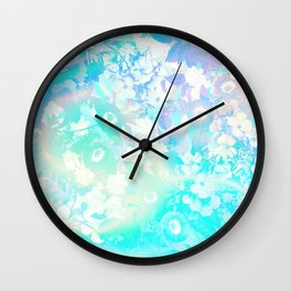Floral Dream Pastel Hologram Wall Clock