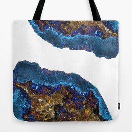 Agate metallic blue & gold Tote Bag
