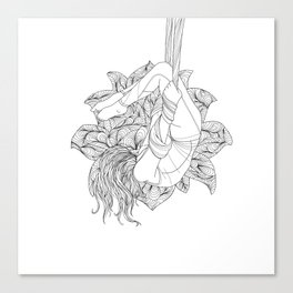 aerial yoga abstract lotus outlines // coloring page Canvas Print