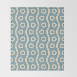 Mid Century Modern Rising Bubbles Pattern 2 Blue and Cream Throw Blanket