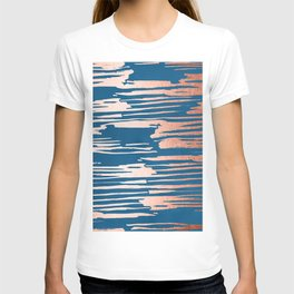 Tiger Paint Stripes - Sweet Peach Shimmer on Saltwater Taffy Teal T-shirt